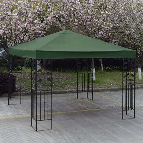 New 10' X 10' Gazebo Top Cover Patio Canopy Replacement 1-Tier Green by Gazebos