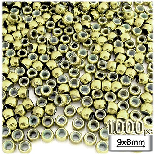 (1,000pc Plastic Round Metallic Pony Beads 9x6mm Light Gold Beads)