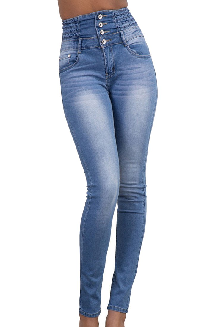 ABCWOO Womens High Waisted Slim Jeans Stretchy Skinny Jeggings Distressed Denim Pant Light Blue Large
