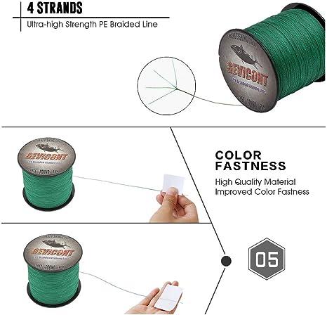 4 Str/änge 4,5 kg 45,4 kg Draht Multifilament-Polyethylen-Schnur zum Karpfenangeln GEVICONT 100 m lange geflochtene PE-Angelschnur