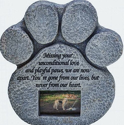 Paw Print Pet Memorial Stone - Features a Photo Frame and Sympathy Poem - Indoor Outdoor Dog or Cat for Garden Backyard Marker Grave Tombstone - Loss of Pet Gift