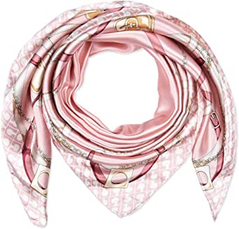 """corciova 35"""" Women Polyester Silk Feeling Hair Scarf for Sleeping Pale Pink Chains and Belts"""