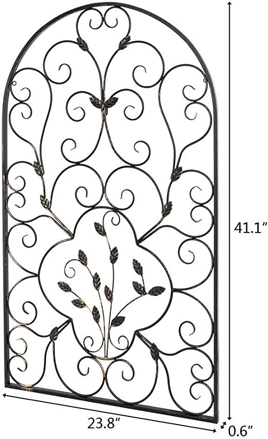 Vintage Arched Wrought Iron Wall Art Sculpture Tuscan Indoor Outdoor Gate Decor