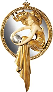 Design Toscano Lady of the Lake Art Deco Wall Mirror Sculpture, 11 Inch, Polyresin, Gold and Ivory