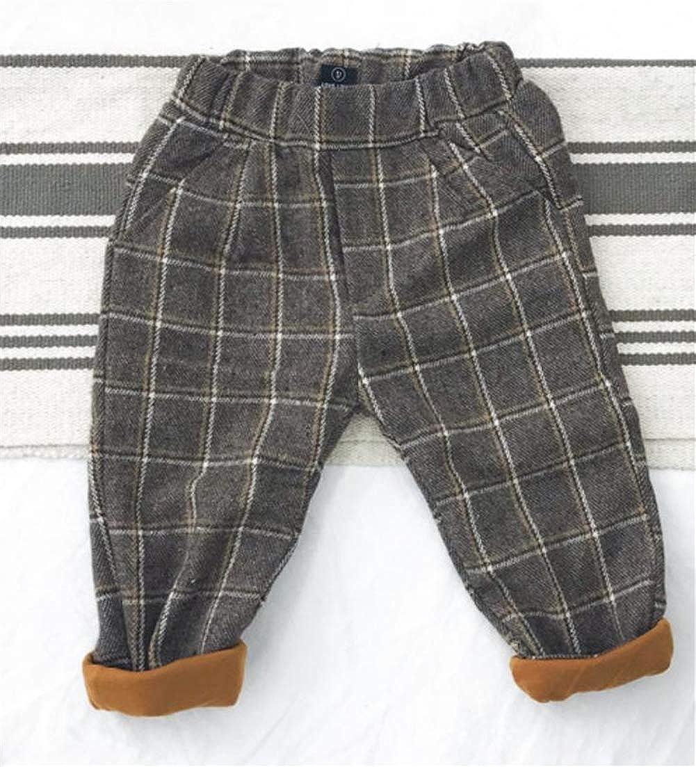 Cromoncent Boys Elastic Waist Plaid Fleece Trousers Kids Pants