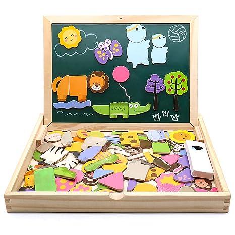 jarryvon Puzzle Magnetico Niños 123 Piezas de Madera Pizarra Magnética Infantil con Rompecabezas Caja Juguete Educativo Puzzle de Animales Regalos ...