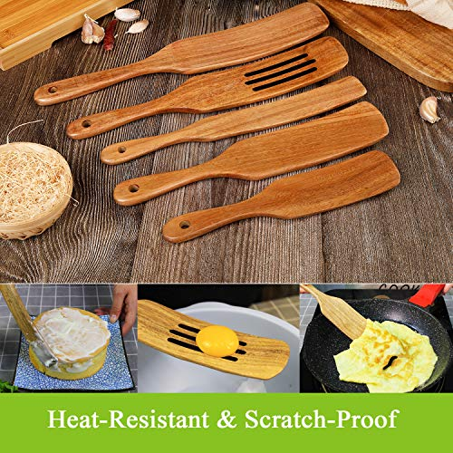 Wood Spurtles Kitchen Set, Acacia Wooden Spoons For Cooking,Wood Cooking Utensil, 100% Healthy Hard And Durable Wood Kitchen Utensils For Salad Stir, Cake Make And Pan-Fried Steak (5)