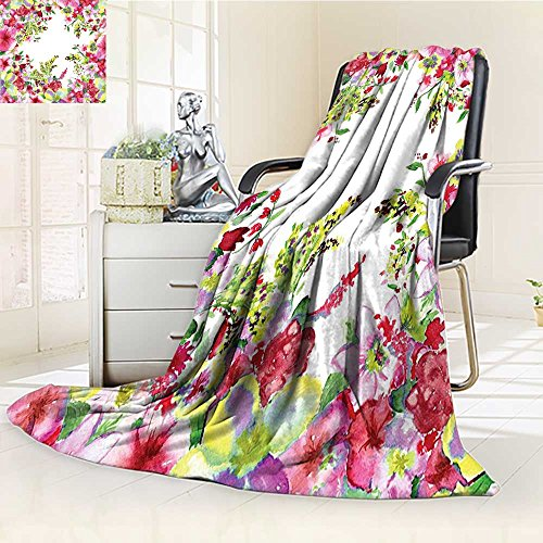 - YOYI-HOME Super Soft Lightweight Duplex Printed Blanket Fresh Curly Willow and Dahlia Floral Summer Buds Pollen Print Pink Green Oversized Travel Throw Cover Blanket /W59 x H47