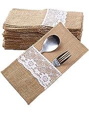 40pcs Cubierto Yute Arpillera Saco Bolsas Tenedor Cuchillo Cuchara con Encaje para Boda Decoración de Mesa Fiestas Navidad Cumpleaños 21 * 11cm