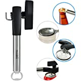 Badalink Can Opener Smooth Edge Manual Stainless Steel Bottle Tin Opener with Soft Grips Handle (Black)