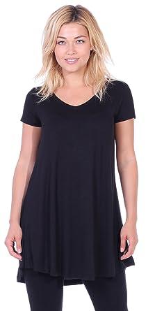 1084034e6a1 Popana Women's Tunic Tops for Leggings Short Sleeve Summer Shirt Made in  USA Small Black