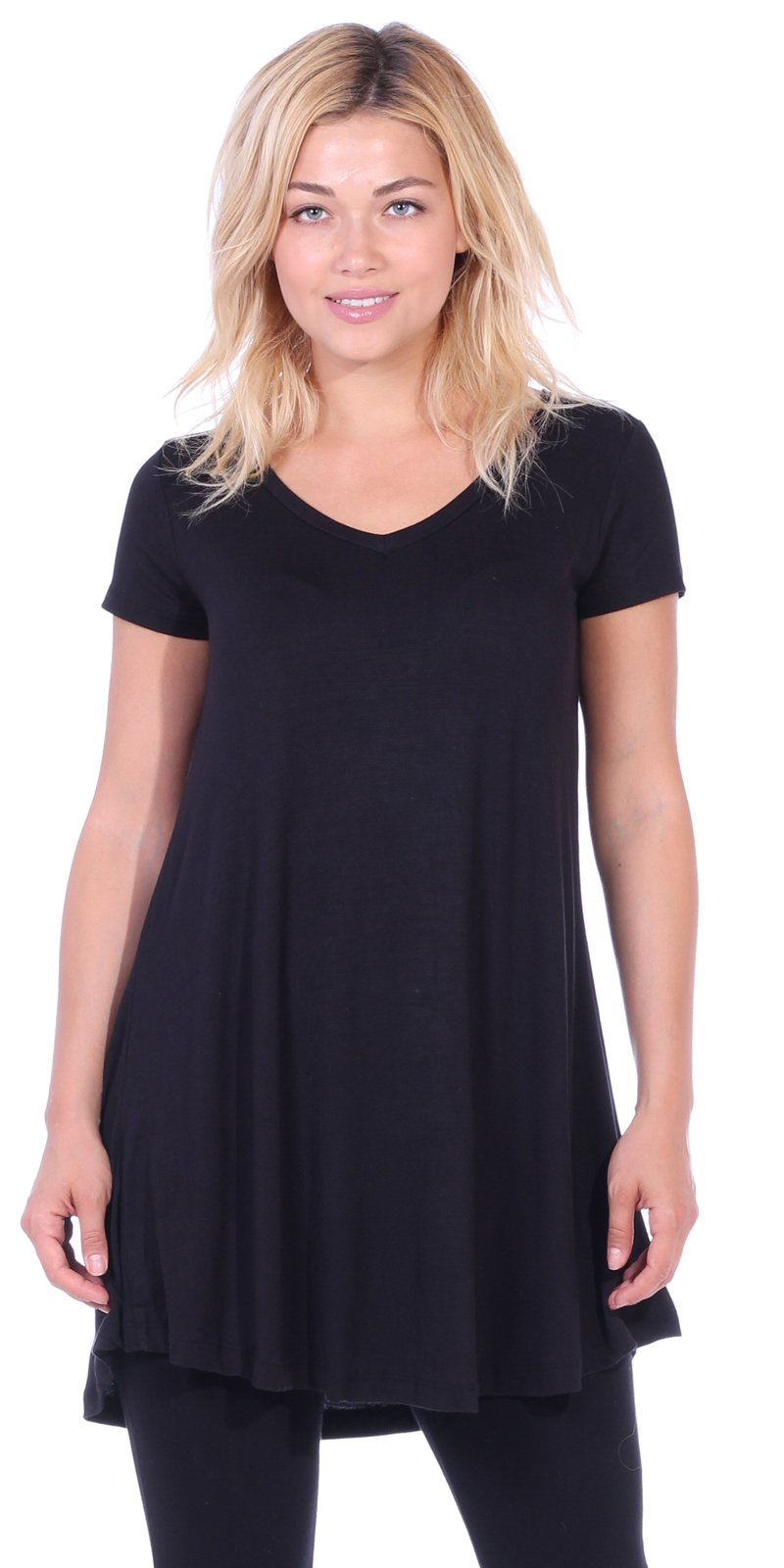 Popana Women's Tunic Tops for Leggings Short Sleeve Summer Shirt Made in USA Large Black