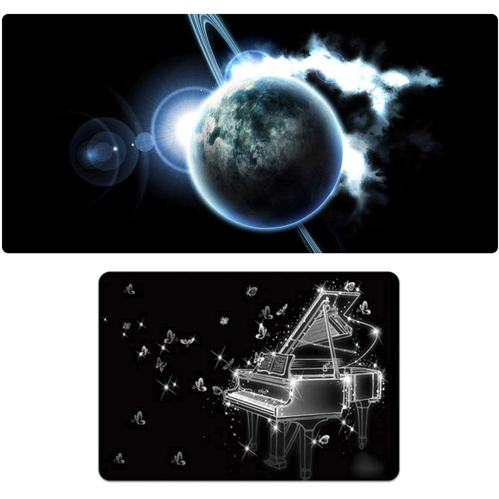 5 1000500mm Oversized + Small Game Mouse Pad Set, SciFi Planet Piano Pattern, Game Esport Mouse Pad Keyboard Pad, Natural Rubber NonSlip 3mm Thick, Holiday Gift101200  600mm