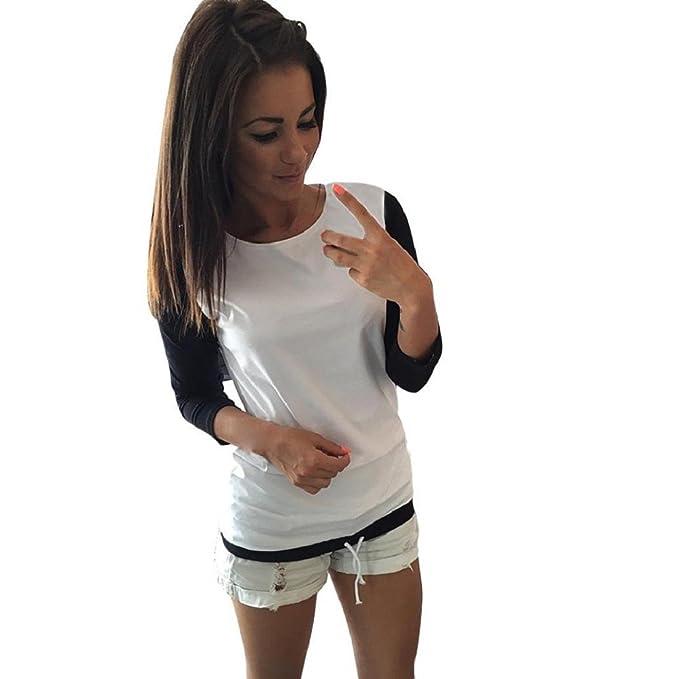Tongshi Manera de las mujeres empalme de manga larga camisa ocasional de la blusa de las