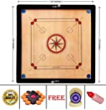 SMT Full Size 32 Inches Round Pocket Carrom Board with Coins,Tournament Striker, and Powder