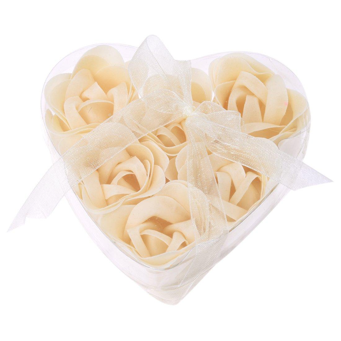 6 pz. Che fa il bagno Doccia Bianco Sporco Rosa, Fiore Sapone Da Bagno w di petali A Forma Di Cuore Scatola SODIAL(R) US-SA-AJD-02654