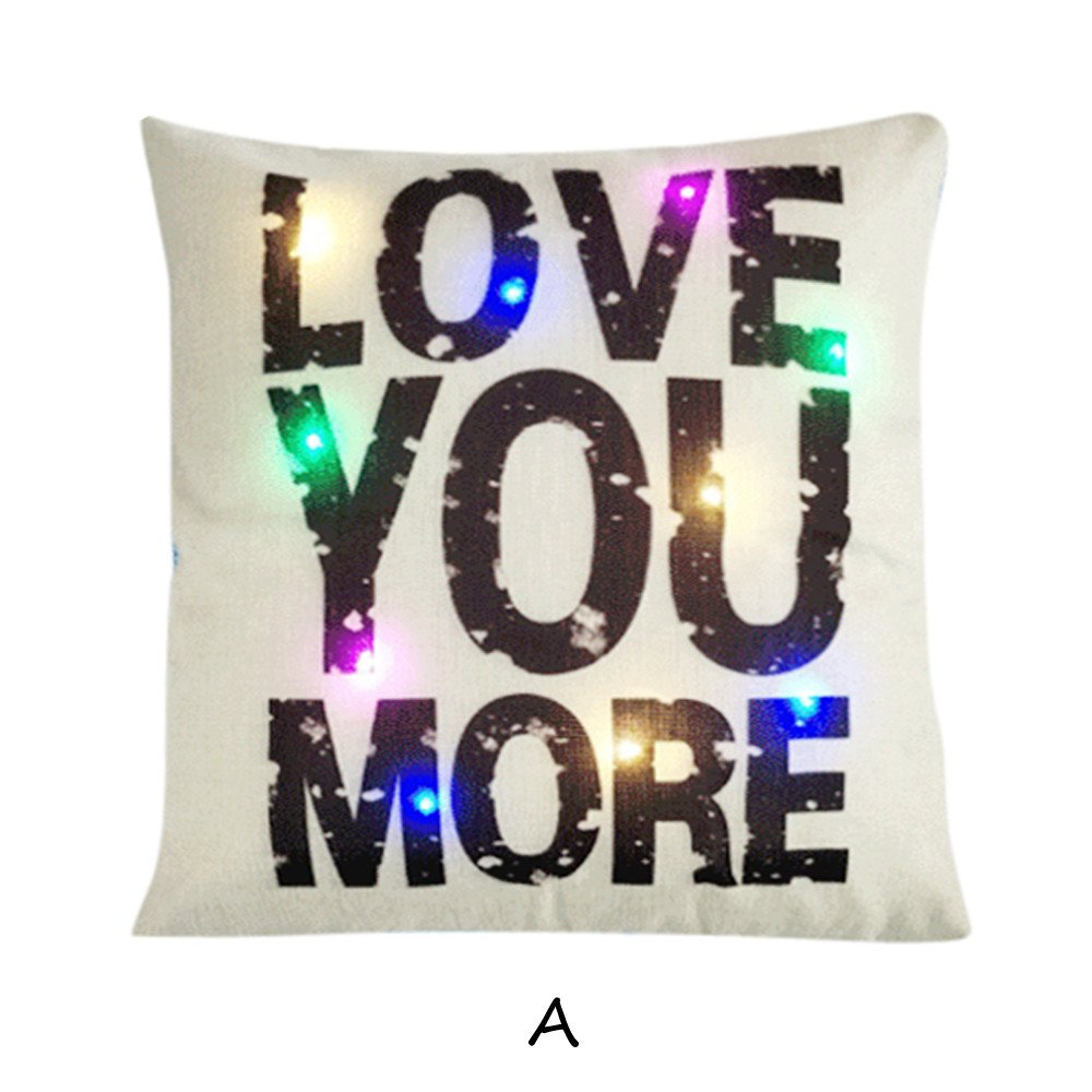Amazon.com: Throw Pillow Cover, DaySeventh Happy Valentine Pillow Cases Linen Sofa LED Cushion Cover Home Decor Pillow Case 18x18 Inch 45x45 cm: Home & ...