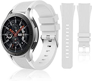 HSWAI Compatible with Samsung Galaxy Watch 46mm Bands/Gear S3 Frontier, Classic Watch Bands/Galaxy Watch 3 Bands 45mm, 22mm Soft Silicone Bands Bracelet Sports Strap for Men & Women. (White)