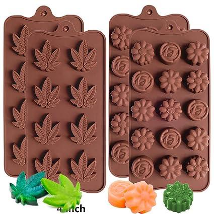 IHUIXINHE Molde de Silicona de Chocolate en Forma de Flor y Forma de Hoja de marihuana, ...