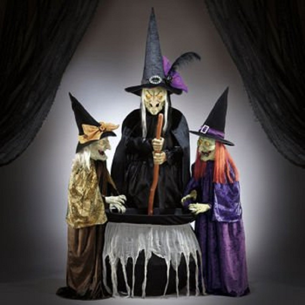 Amazon.com : Animated halloween decor 3 witches with light and ...