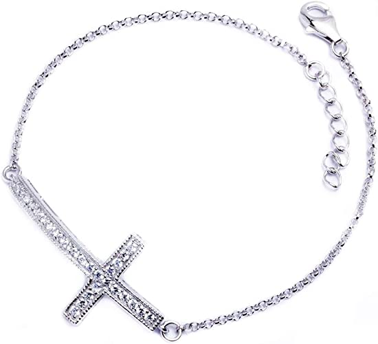 Faith Hope Religious Side Cross Necklace for Women 925 Sterling Silver 18 2.4 g