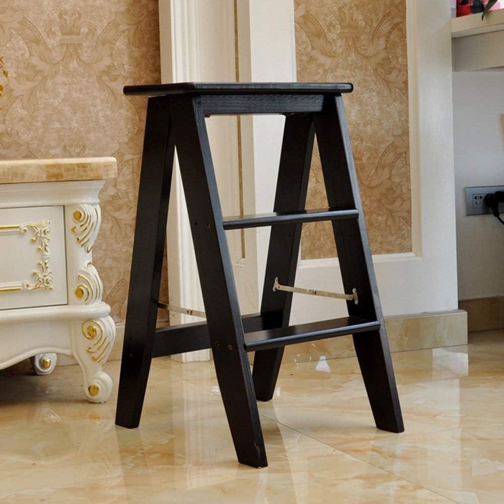 Xiao Jian- Pino Escalera del Taburete multifunción sillas Plegables de 3 Capas escalones de Madera Maciza 34 * 45 * 62cm portátil de Alta heces Taburetes Escalera (Color : Dark Brown): Amazon.es: Hogar