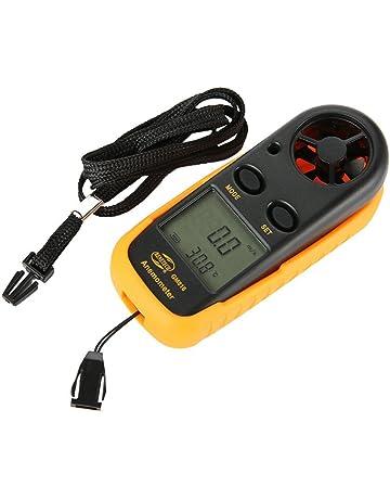 Anpress Anemómetro digital con pantalla LCD de mano, medidor de velocidad del viento, temperatura