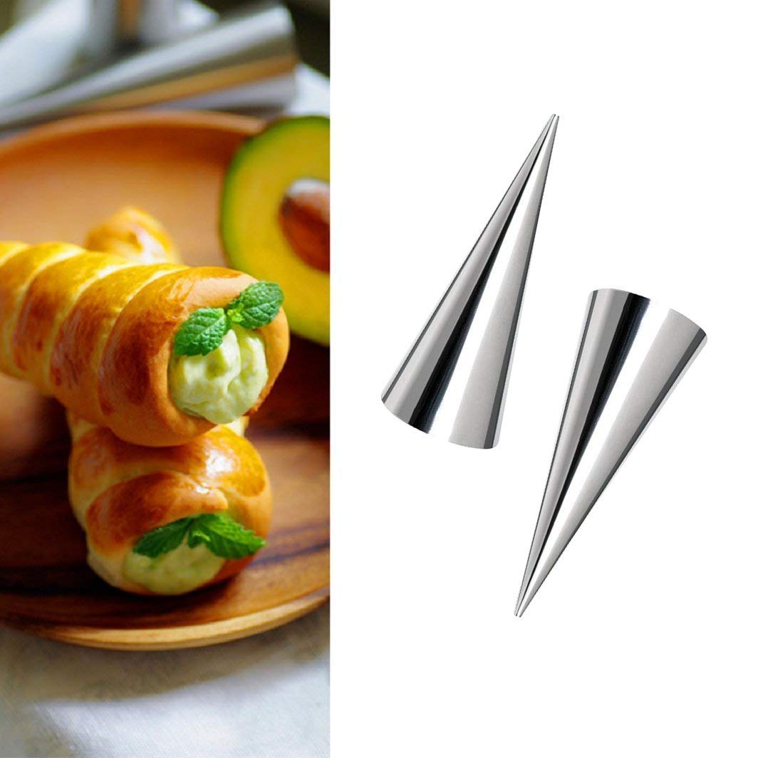 TTBD 24Pcs Lady Lock Forms Free Standing Cone Shape Stainless Steel Pastry Molds Cream Roll Horn Mold Conical Tube