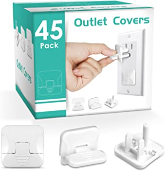 45-Pack Heelalbaby Outlet Covers with Handle Baby Proofing Plug Covers