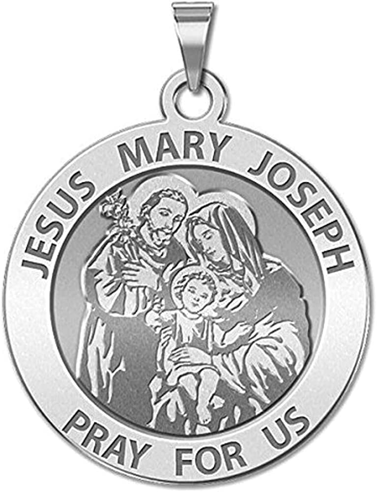 Solid 14K White Gold 2//3 Inch Size of Dime PicturesOnGold.com Jesus Mary Joseph Religious Medal