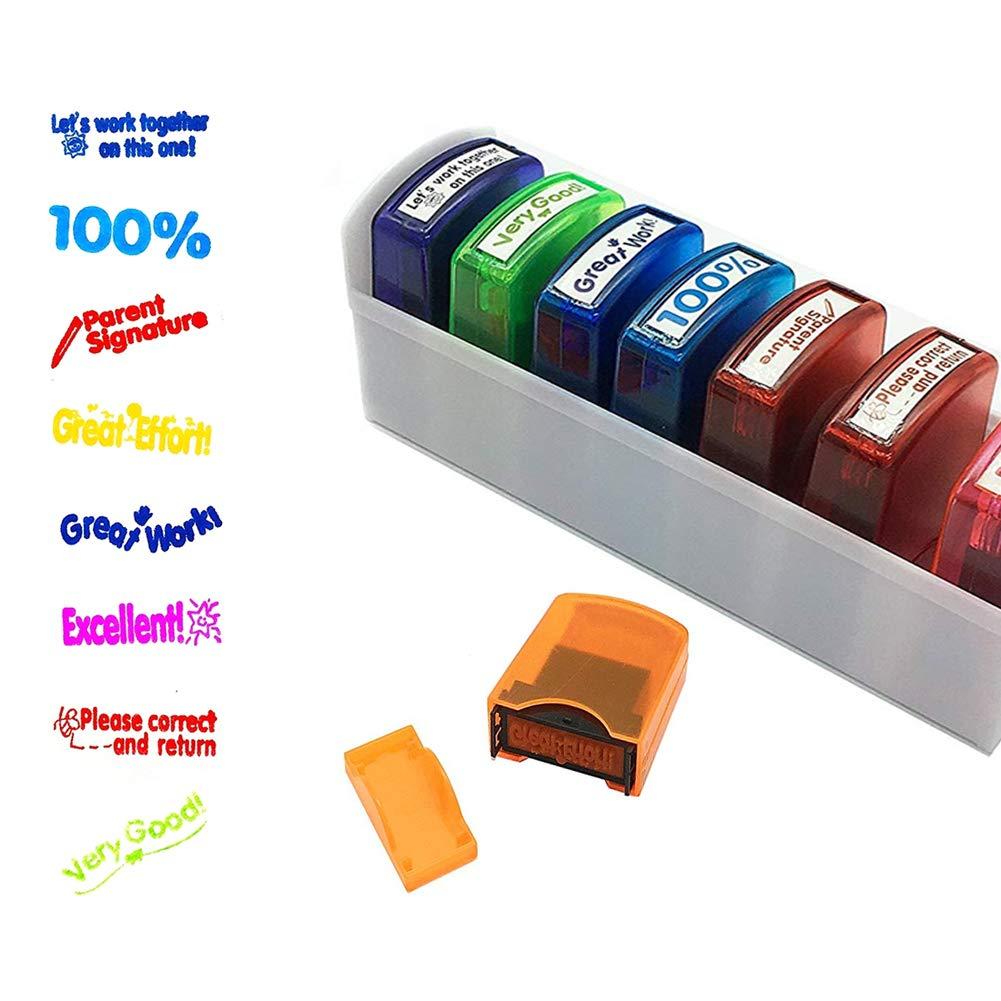 Newthinking colorato autoinchiostrante motivazione e riconoscimento scuola classificazione insegnante timbro set e vassoio (pezzi)