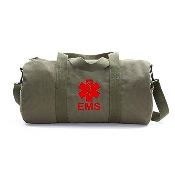 c69168776407 EMS Emergency Medical Services Army Sport Heavyweight Canvas Duffel Bag in  Olive & Red, Medium