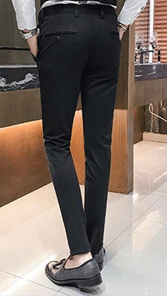ouxiuli Mens Straight Leg Skinny Stretch Casual Dress Flat Front Suit Pants
