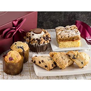 Dulcet Gift Baskets Sweet Treat Gift Collection Features Peanut Butter Cupcake- Raspberry Crumb Cake-Muffins. Ideal Gift for Get Well-Birthdays-and Holiday Gift Baskets.