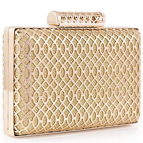 LONGBLE Womens Exquisite Gold Evening Clutch Bag Geometric Metal Frame Glittering Handbags