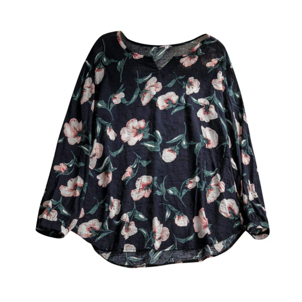 Clearance! Women Long Sleeve V Neck Floral Print Tops Daoroka Ladies Sexy Pullover Casual Loose Cute Autumn Winter Blouse Fashion Comfort Soft Tunic T Shirt