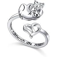 925 Sterling Silver Cute Animal Sloth Heart CZ Open Ring for Women Teen Girls, Size 7