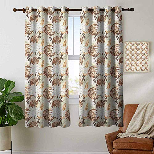petpany Blackout Curtains 2 Panels Floral,Coming of The Spring Themed Blossoming Petals Leaves Illustration,Orange Pale Green Dark Orange,for Room Darkening Panels for Living Room, Bedroom 42