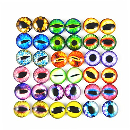 Mixed Style Dragon Eyes Round time gem cover Glass Cabochon Dome Jewelry Finding Cameo Pendant Settings (10MM)