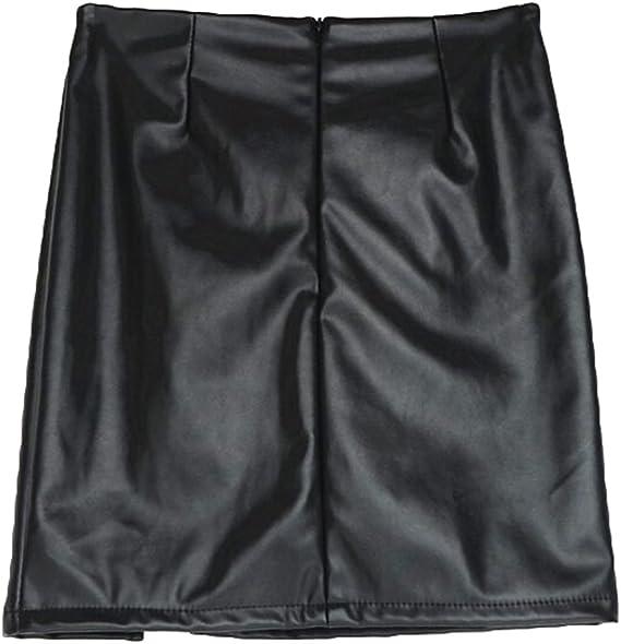 Yying Falda de Cuero Falda de Cuero Sexy Mujeres Falda de Cuero ...