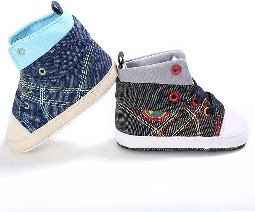Highpot Toddler Boy Girl Anti-slip Ankle Denim Tie Canvas Shoes Prewalker