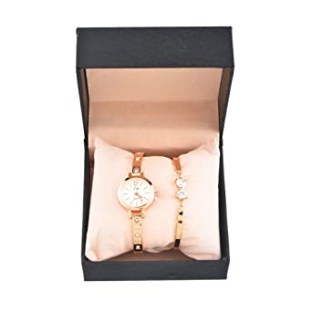 Bangle Souarts Cadeau Bracelet Strass Montre Ensemble Coffret 1 0wk8nOXP
