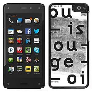 Caucho caso de Shell duro de la cubierta de accesorios de protección BY RAYDREAMMM - Amazon Fire Phone - Cartas Periódico retro impresión blanca