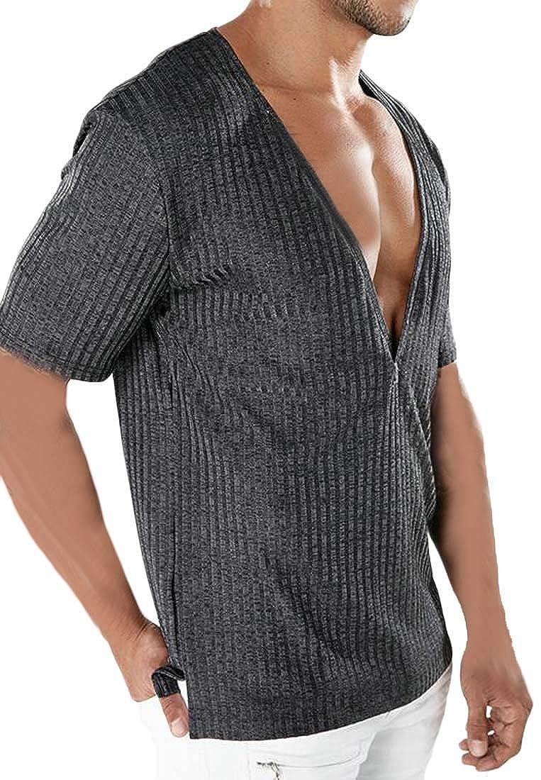 Hajotrawa Mens Solid Color Deep V Neck Tops Tees Short Sleeve Casual T-Shirts