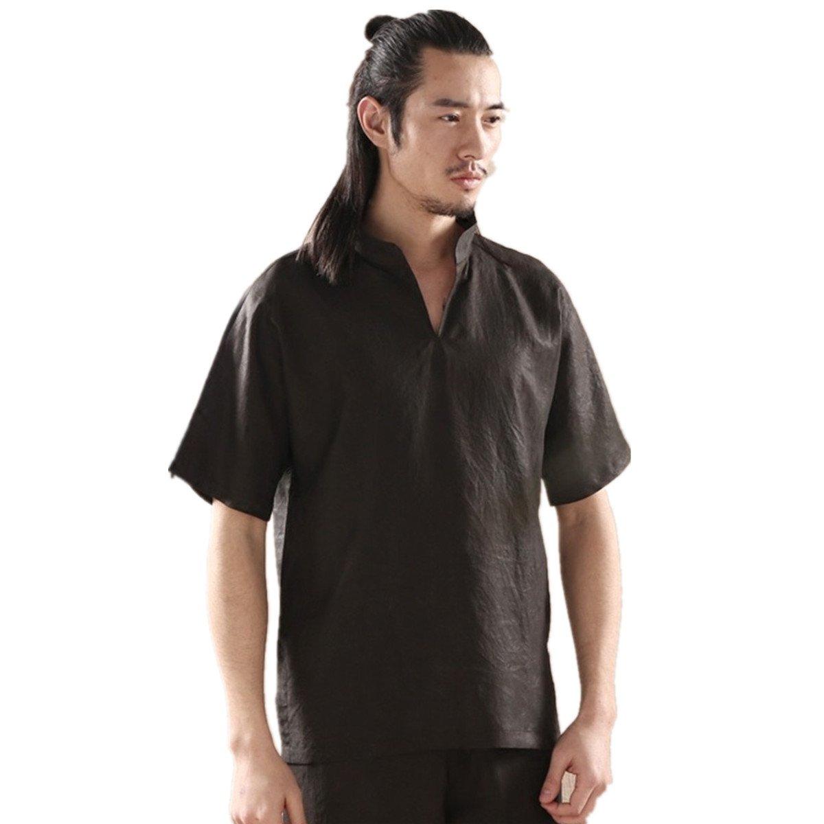WEISAN Men Chinese Traditional Mulberry Silk Shirt Stand Collar Short Sleeve Costume