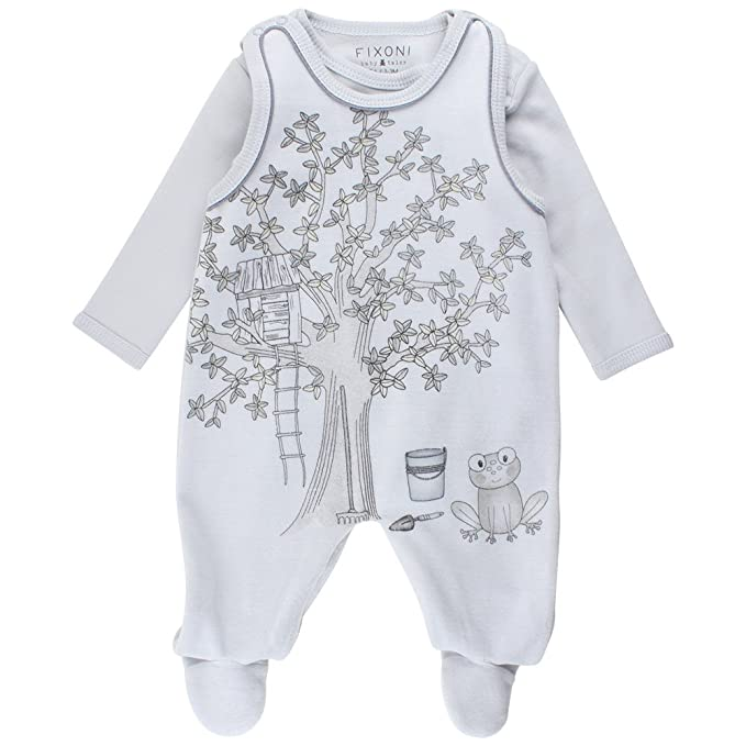 Fixoni Grow Suitset, Pelele Unisex bebé, Azul Soft Blue 03-43, 50