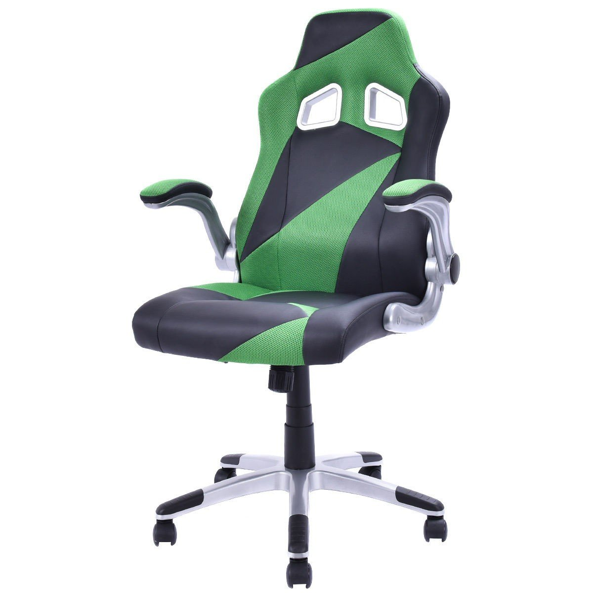 PU Leather Executive Racing Style Bucket Seat Office Chair Desk Task Computer 5 Color - 5 Wheels For Easy And Smooth Movement - Nylon Base Provides Stability And Comfort - Comfortable Seat (Green)