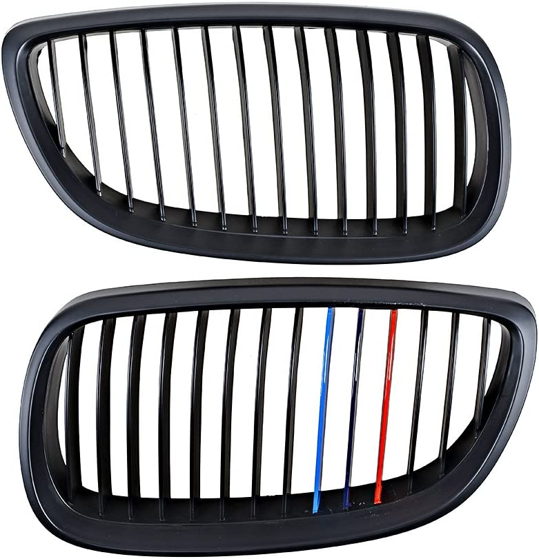 2pcs Front Upper Kidney Grill Grille for 2008-2013 BMW 3-Series E92 E93 M3 Matte Black