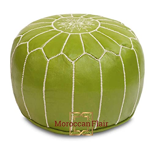 Moroccan Flair Genuine Handmade Moroccan Leather Pouf Bedroom Living Room Round Ottoman Authentic Goat Skin Leather Eco-Friendly Materials 20 x 20 x 14 Pistachio