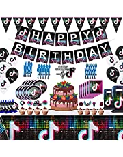 Set of 137Pcs Tik Tok Party Decorations and Birthday Supplies Includes Balloons Kit Gags Plates and Napkins package for Girls 7 8 9 10th 11th 12 Boys